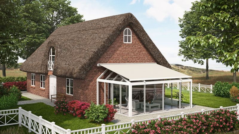 Electric above-glass awning for conservatories with hipped roof: markilux 8850