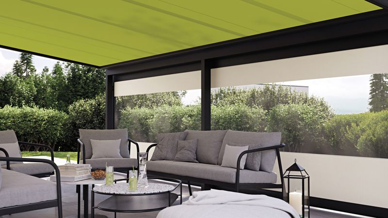 779-776-weisserKubusKlinker Detail Fenster Panoramafenster Tuch grün 201910_beschnitt