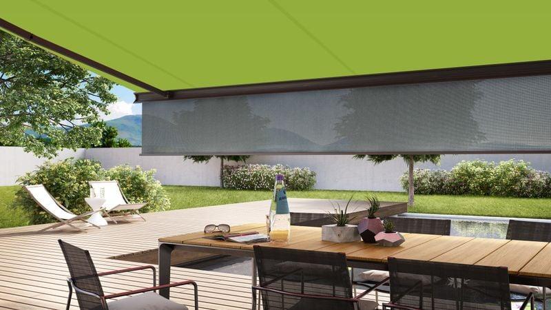 markilux Schattenplus sowie vertikaler Sonnen- und Blickschutz für Terrassen- und Balkonmarkisen
