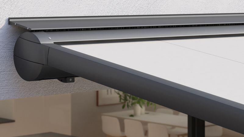 Markisensystem pergola Haus am Hang Detail Wandanschlussprofil geradlinig 201811