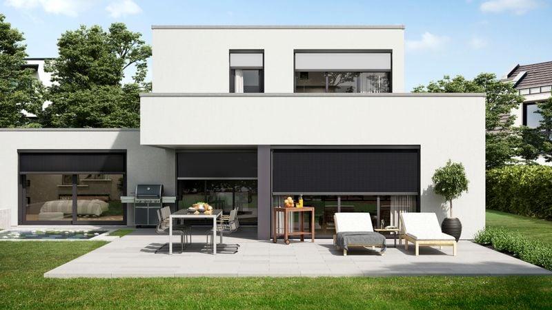 Fenstermarkise 776-Imagebild 3300er Haus schwarze-weisse Tücher 201806