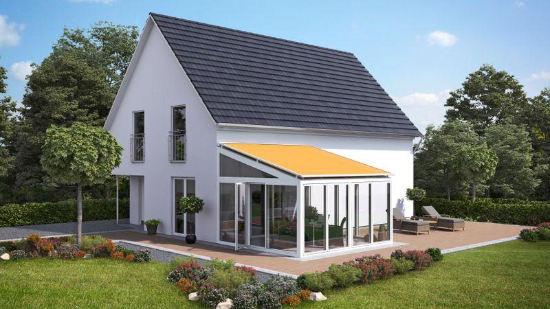 Wintergartenmarkise 770-Einfamilienhaus WiGa Imagebild gelbes Tuch-201810