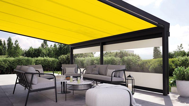 Wintergartenmarkise 779-776-weisserKubusKlinker Detail Fenster Panoramafenster Tuch gelb beige 202010